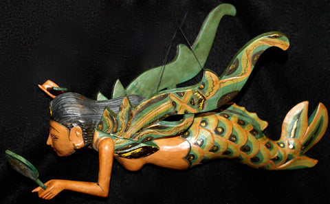 Carved wood mermaid mobile Bali art