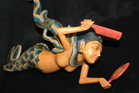 Winged Mermaid Goddess Mobile Carved Wood Bali Art - Acadia World Traders