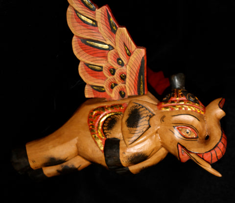 "Flying Elephant mobile Crib Guardian Bali hand carved wood Balinese folk Art 12"" - Acadia World Traders"