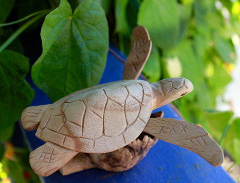 Hand Carved Wood Sea Turtle Ocean Life Sculpture - Acadia World Traders