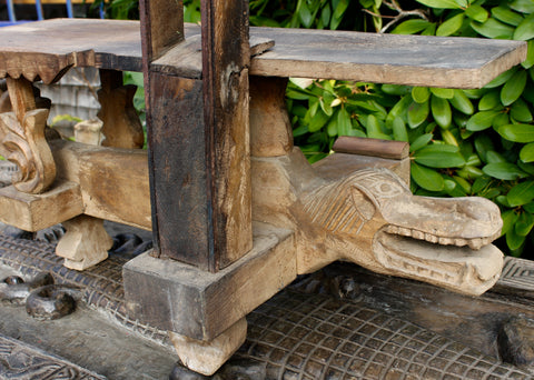 Old Kudus Java Tobacco Cutting Stool Hand Carved Teak Wood Crocodile - Acadia World Traders