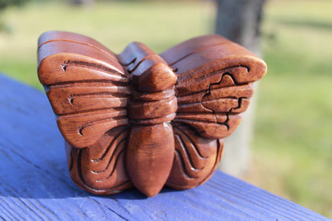 Butterfly Secret Puzzle Trinket Box Hand Carved Wood - Acadia World Traders