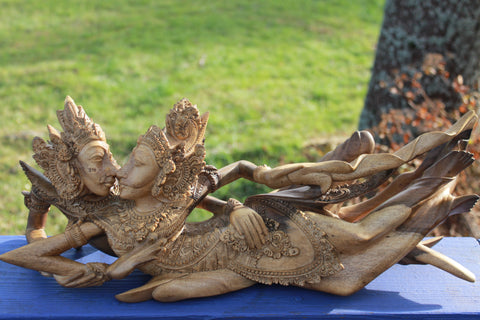 Balinese Rama Sita Lovers Hand Carved Wood Sculpture  Bali Art - Acadia World Traders