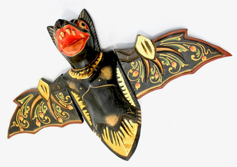 flying Black Bat Mobile Balinese Spirit Chaser hand carved wood Bali Art - Acadia World Traders