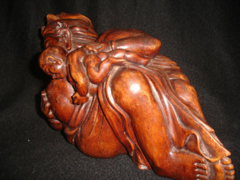 Fine Old Balinese Sculpture Father & Child Ubud Bali Art wood carving statue - Acadia World Traders