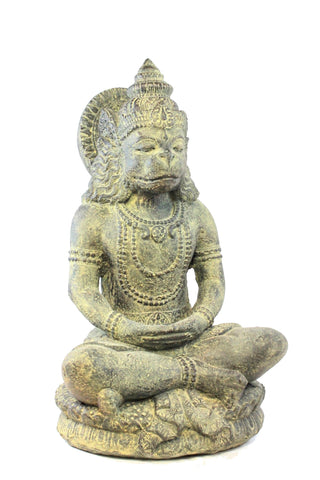 Lord Hanuman Monkey General Garden Statue Cast Lava Stone Sculpture Bali Art