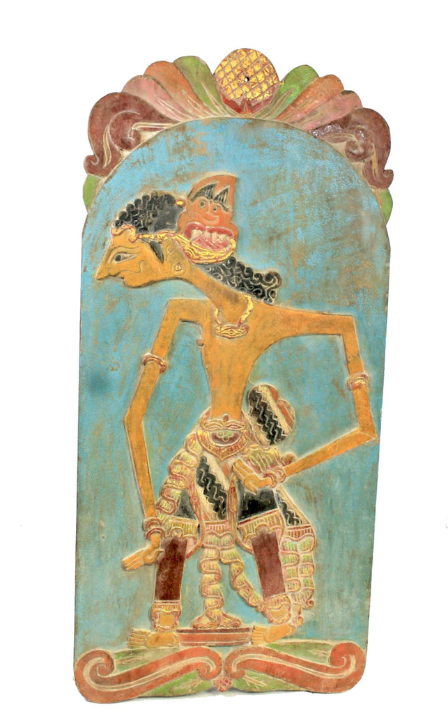 Vintage Wayang Shadow Puppet Wall art Panel Carved Polychrome Wood Indonesia