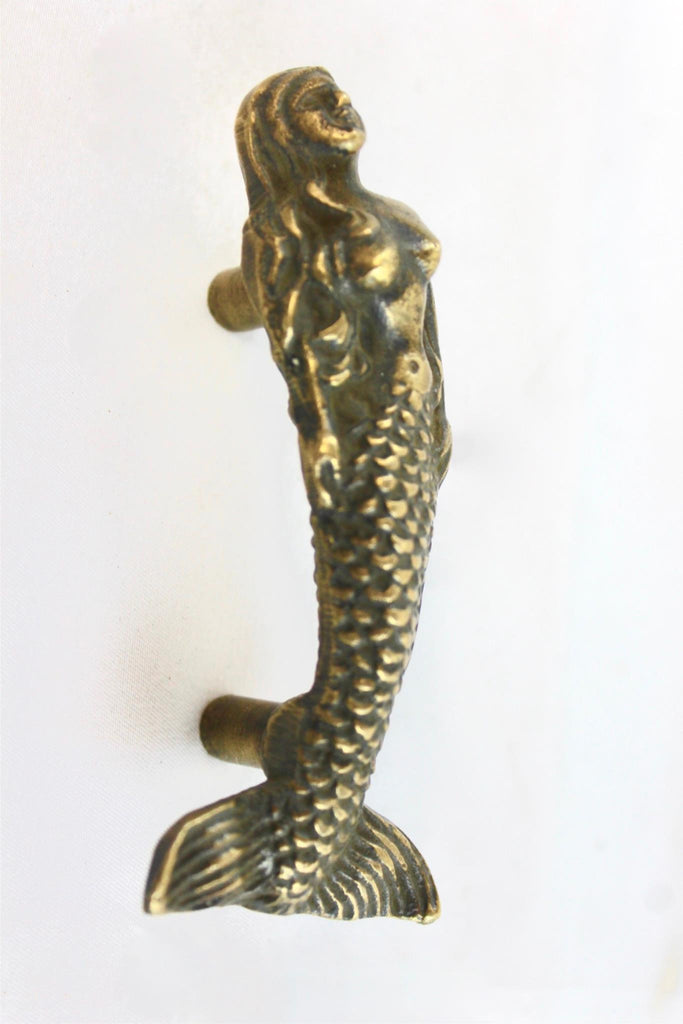 Mermaid Brass Knob drawer pull handmade nautical beach cottage decor