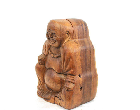 Laughing Fat Buddha secret puzzle Box Stash Trinket jewelry carved wood Bali art - Acadia World Traders