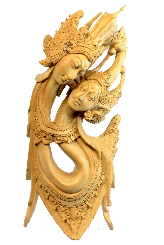 Balinese Rama Sinta Lovers Statue Hand Carved Wood carving Sculpture Bali Art