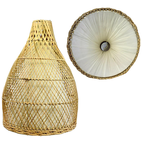 Rattan lamp shade Woven Wicker lamp Rustic Bali Boho pendant light chandelier