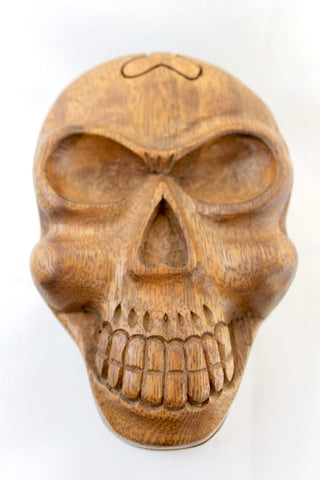 Skull Skeleton Secret Puzzle Trinket Box Hand Carved Wood handmade Bali art
