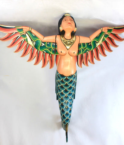 Bali Winged Flying Mermaid Mobile Spiritchaser Carved wood Balinese art 37""