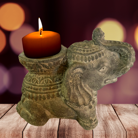 Elephant candle incense holder Garden Statue Cast Lava Stone