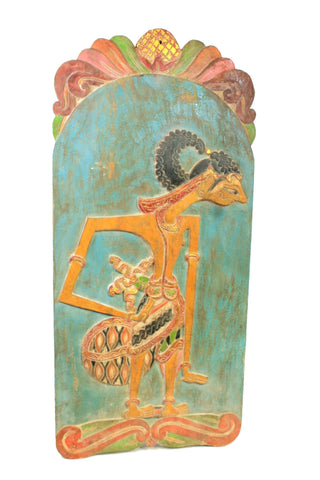 Old Wayang Shadow Puppet Wall art Panel Carved Polychrome Wood Java Indonesia