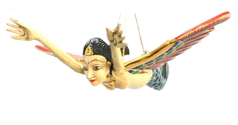 Flying Mermaid Goddess Mobile Demon Chaser Guardian Carved Balinese art Teal - Acadia World Traders