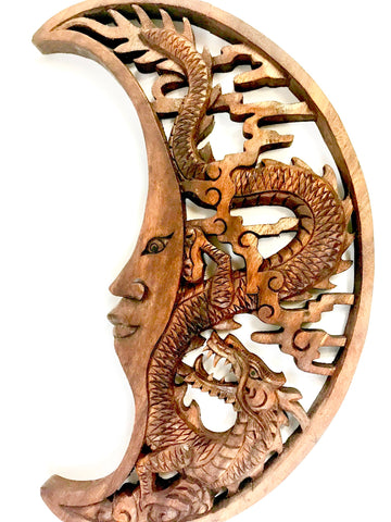 Dragon & Crescent Moon Wall Art Plaque Panel Hand Carved Balinese Wood carving - Acadia World Traders
