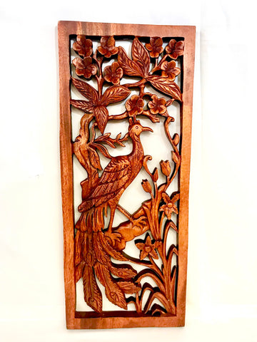 Balinese Peacock Panel Wall Art Plaque Hand Carved Wood Asian Decor
