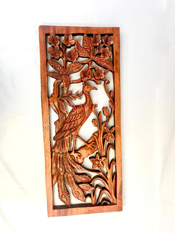 Balinese Peacock Panel Wall Art Plaque Hand Carved Wood Asian Decor - Acadia World Traders