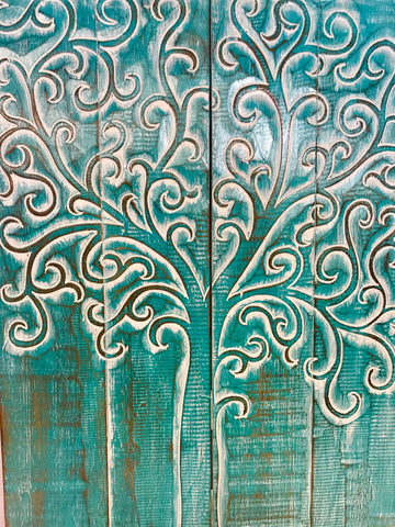 Tree of Life Wall Art Sculpture Distressed Turquoise - Acadia World Traders