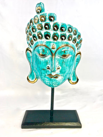 Buddha Mask Sculpture Distressed Turquoise
