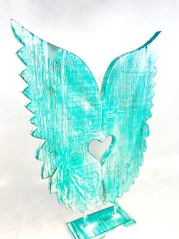 Angel Wings Sculpture Distressed Turquoise Hand Carved Wood - Acadia World Traders