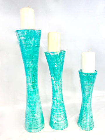 Pedestal Candle Holder Set Distressed Turquoise Hand Carved Wood Bali Art Decor - Acadia World Traders