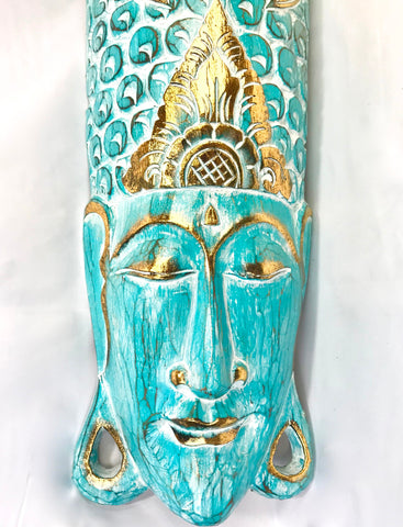 Buddha Mask Wall Sculpture Distressed Turquoise - Acadia World Traders