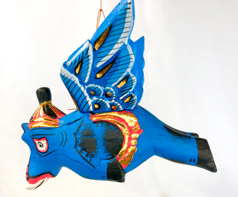 Winged Blue Elephant mobile Balinese Demon Chaser