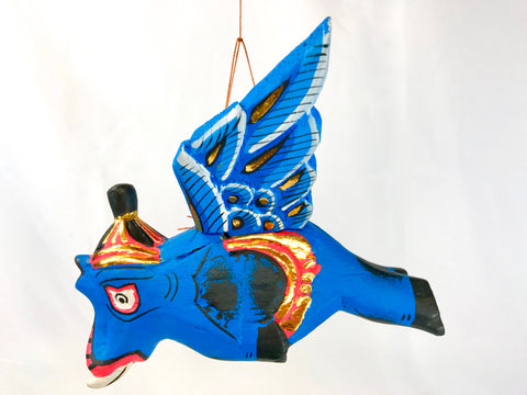 "Winged flying Blue Elephant Balinese mobile Spirit Chaser 6"" - Acadia World Traders"
