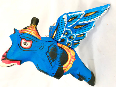 "Balinese Winged flying Blue Elephant mobile Spirit Chaser  9"" - Acadia World Traders"