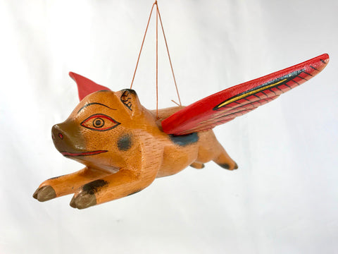 "Balinese FLYING Pig Mobile Winged Spirit Chaser 7"" - Acadia World Traders"