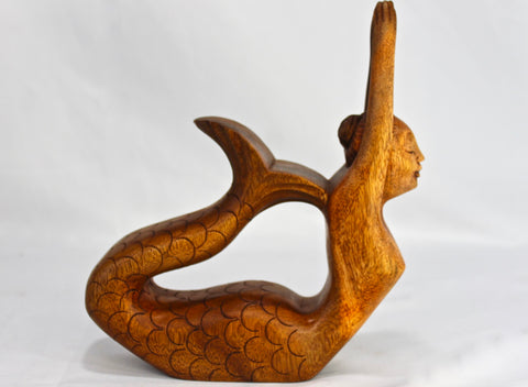 Balinese Yoga Pose Mermaid Sculpture Hand Carved Statue - Acadia World Traders