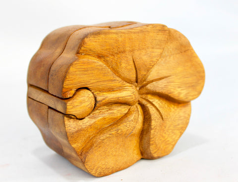 hibiscus flower Secret Puzzle Stash Box Hand Carved Wood