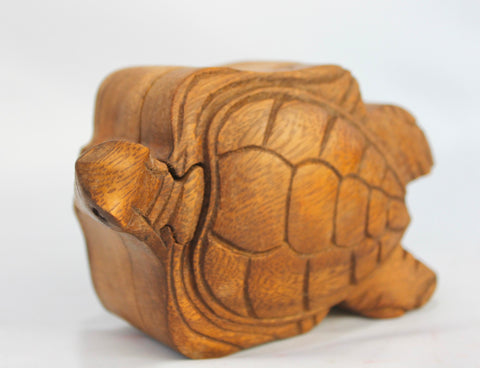 Sea Turtle Secret Puzzle stash Box  Hand Carved Wood