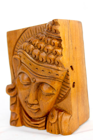 Serene Buddha secret puzzle Box Stash hand carved wood