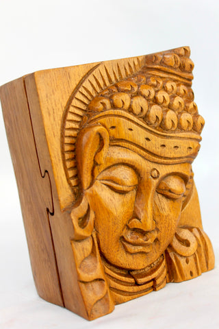 Serene Buddha secret puzzle Stash Box hand carved wood