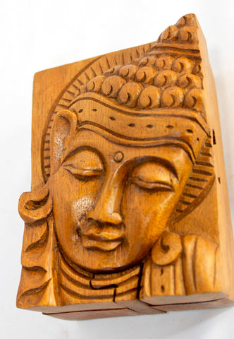 Buddha secret puzzle Stash Box hand carved wood