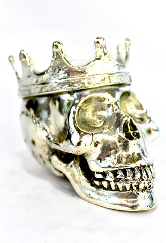 Gothic King Skull Crown Statue lost wax handmade Cast Bronze