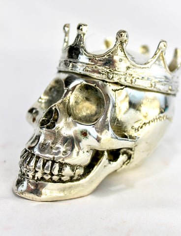 Gothic King Skull Crown Statue lost wax handmade Cast Bronze - Acadia World Traders