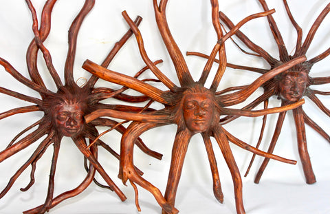 "Nature Sun Goddess Tree Root spirit Wood carving 12"" - Acadia World Traders"