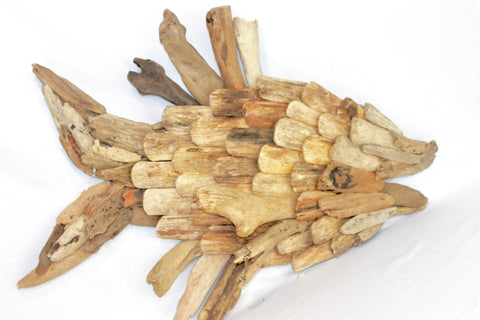 Driftwood Fish Sculpture wall art decor