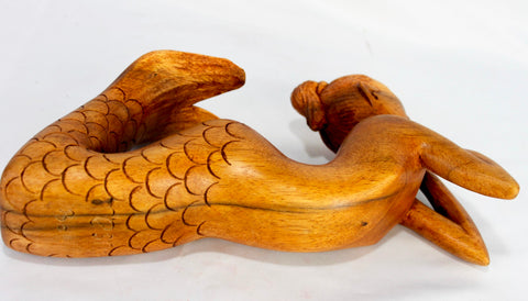 Day Dream Mermaid Sculpture Hand Carved wood Statue Signed - Acadia World Traders