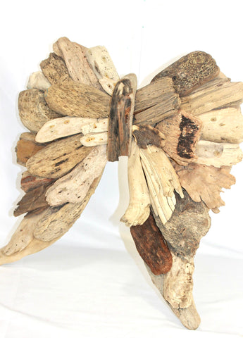 Angel Wings Wall Art Sculpture Rustic Driftwood  Handmade Wood Decor - Acadia World Traders