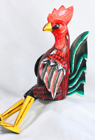 Rooster Chicken puppet shelf sitter Farmhouse Decor Bali Carved painted wood - Acadia World Traders