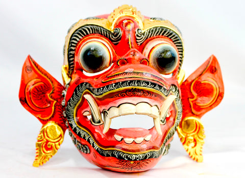 Red Hanuman Mask the Monkey General Balinese Hand Carved Wood Bali wall Art - Acadia World Traders