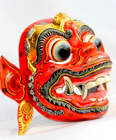 Red Hanuman Mask the Monkey General Balinese Hand Carved Wood Bali wall Art