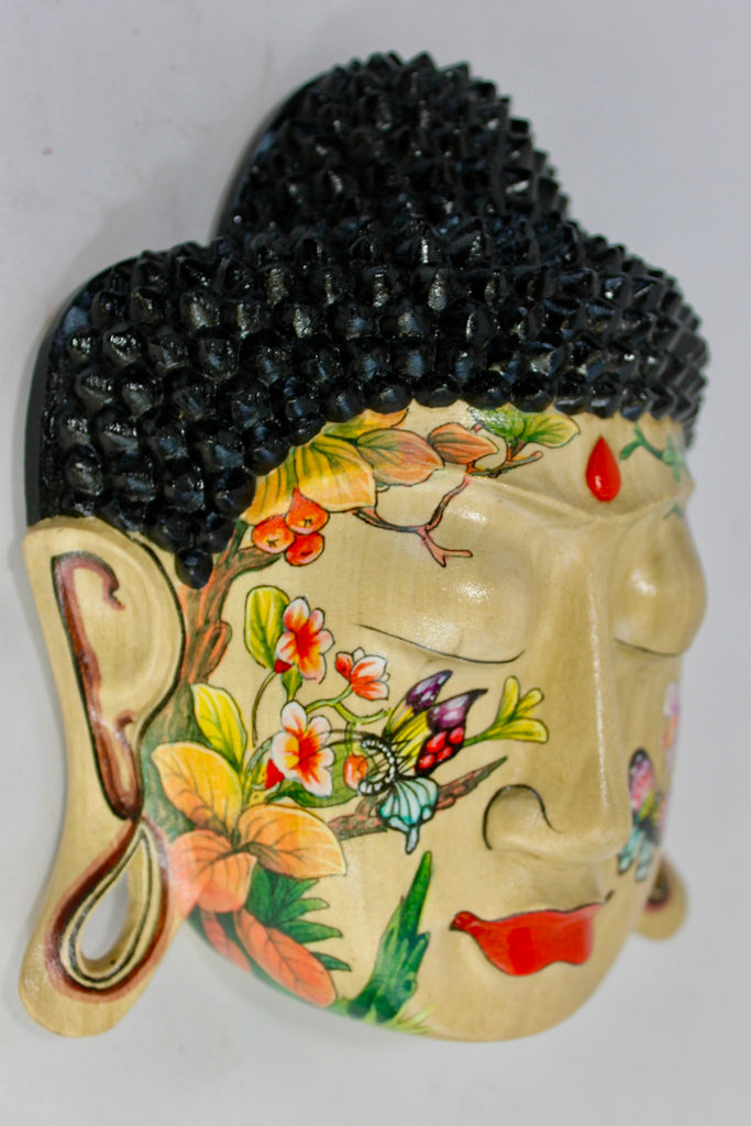 Peaceful Buddha Mask Wall Sculpture Hand Painted