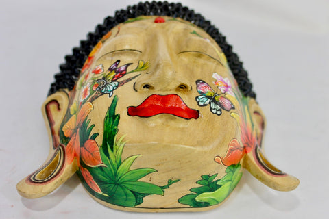 Peaceful Buddha Mask Wall Sculpture Balinese art