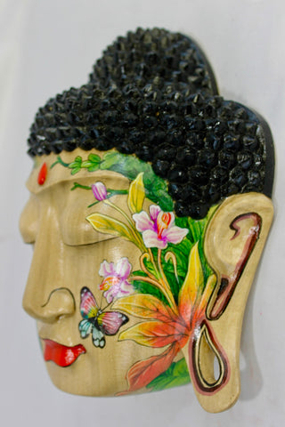 Peaceful Buddha Mask Wall Sculpture Bali art